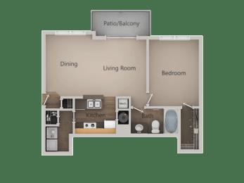 1 Bed 1 Bath Floor Plan at PinehurstApartments, Midvale, UT, 84047