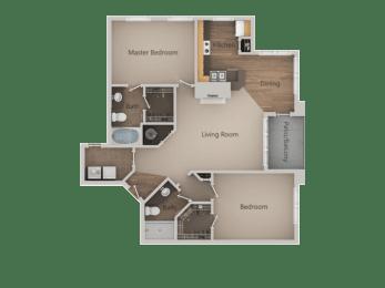 2 bedroom 2 bath Floor Plan at PinehurstApartments, Midvale, UT