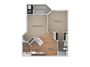One Bed One Bath Floor Plan at Falls at Hunters PointeApartments, Utah