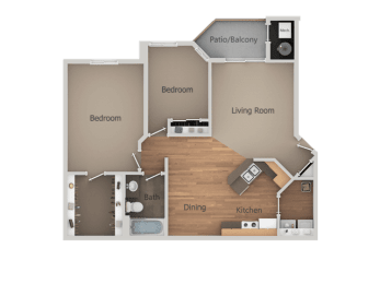Two Bed One Bath Floor Plan at Falls at Hunters PointeApartments, Utah, 84070