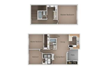 3 Bed, 2 Bath Floor Plan at Broadmoor Village Apartments, Utah