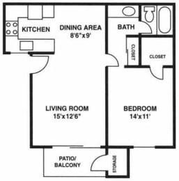 A3 floorplan, Villetta, Mesa, AZ