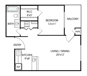 Floor Plan  1 Bed, 1 Bath 800 SF