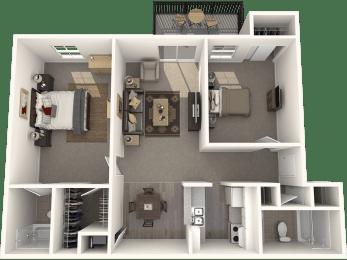 Two Bedroom Two Bath Floor Plan |Bay Club