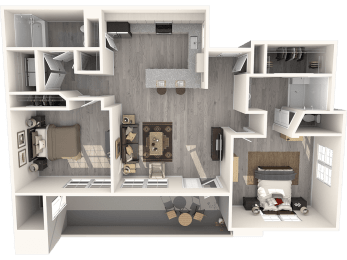 Two Bedroom Floor Plan |Pima Canyon