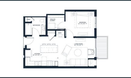 Garland - 1 Bedroom & 1 Bathroom Floor Plan At Revel Apartments