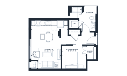 Marley - Studio & 1 Bathroom Floor Plan At Revel Apartments