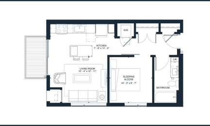 Presley - Studio & 1 Bathroom Floor Plan At Revel Apartments