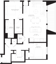 Stewart - 2 Bedroom & 2 Bathroom Floor Plan At Revel Apartments