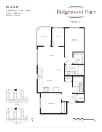 2 Bedroom 2 Bath + Den Plan E1