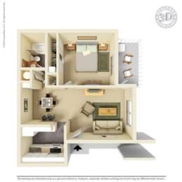 1 Bedroom Floor Plan at Clayton Creek Apartments, California, 94521