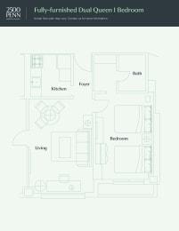 Floor Plan Fully-furnished Dual Queen 1 Bedroom