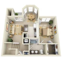 Floor Plan Mid 1BR 1BA Den/Loft