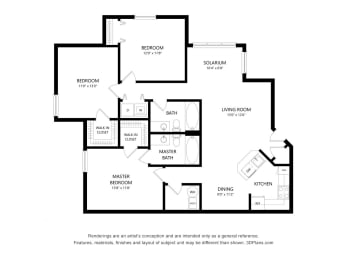 3A Bedroom Apartment Floorplan at Fusion