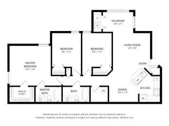 3 Bedroom Apartment Floorplan at Fusion