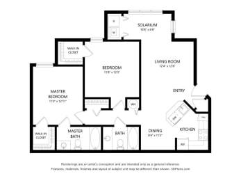 2 Bedroom Apartment Floorplan at Fusion