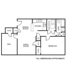 Floor Plan 1A+Den Floor Plan