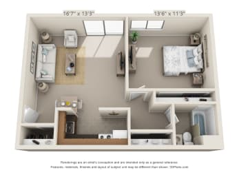 Floor Plan  This is a 3D floor plan of a 549 square foot 1 bedroom apartment at Romaine Court Apartments in Cincinnati, OH.