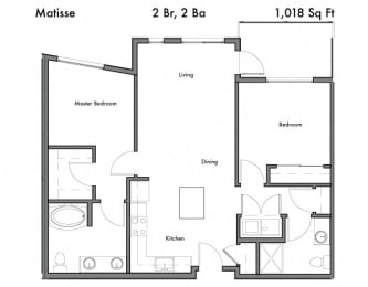 2 bedroom 2 bath Floor Plan  at Discovery West, Issaquah, WA