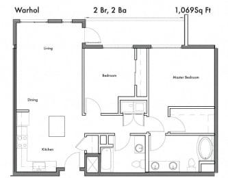 2 Bedroom 2 Bathroom Floor Plan at Discovery West, Issaquah, Washington
