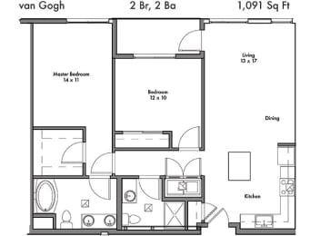 2 Bedroom 2 Bathroom Floor Plan at Discovery West, Issaquah, WA, 98029