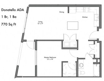 1 Bedroom 1 Bathroom Floor Plan at Discovery West, Issaquah, Washington