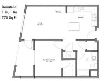 1 Bed 1 Bath Floor Plan  at Discovery West, Issaquah, WA