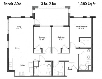 3 bedroom 2 bath Floor Plan at Discovery West, Issaquah, Washington