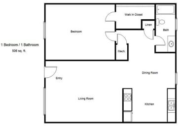 Floor Plan  Silver Glen_1 Bedroom Floor Plan