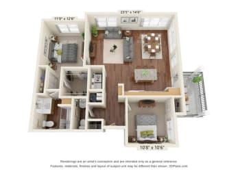 Floor Plan  Stonepointe_2 Bedroom Floor Plan_B4