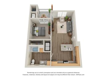 Floor Plan  Timbers at Hickory Tree 1 Bedroom Floor Plan_1A
