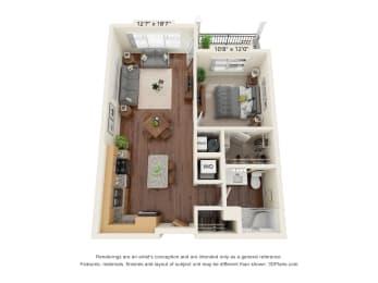 Floor Plan  One Bedroom - A1 Floor Plan at Preserve at Peachtree Shoals 55+ Apartments, Dacula, Georgia