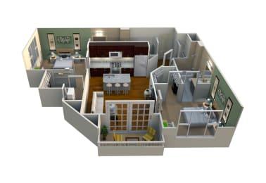 M2/2-985 Floor Plan at Mezzo 1 Luxury Apartments, North Carolina