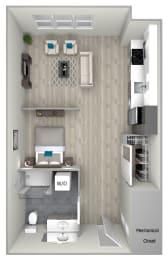 Studio One Bathroom 531 Floor Plan at Nightingale, Providence, RI