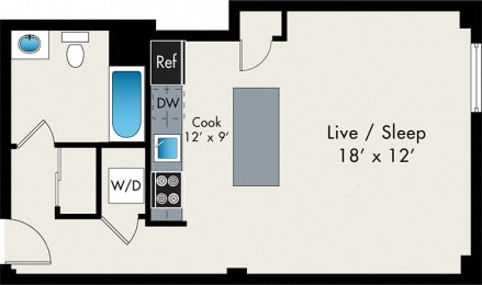 Floor Plan  Studio FLoor Plan At the Lofts at Gin Alley