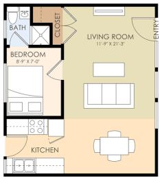 One Bedroom One Bath - 1273 Mills Floor Plan at Downtown Menlo Park Leasing Center, Menlo Park, 94025
