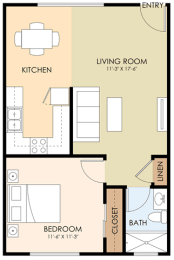One Bedroom One Bath - 1450 San Antonio Floor Plan at Downtown Menlo Park Leasing Center, California