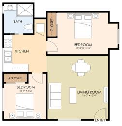 Two Bedroom Floor Plan at Downtown Menlo Park Leasing Center, Menlo Park, 94025