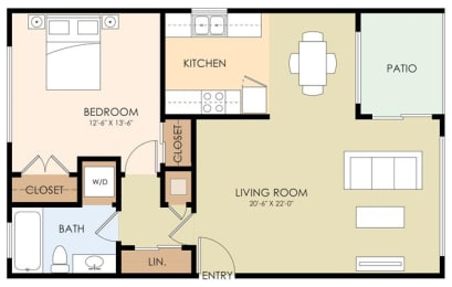 One Bedroom One Bath - 825 Menlo Ave Floor Plan at Downtown Menlo Park Leasing Center, Menlo Park, CA