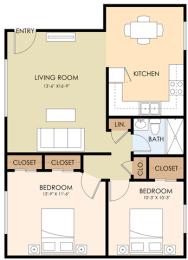 Two Bedroom One Bath - Glenwood Vista Floor Plan at Downtown Menlo Park Leasing Center, Menlo Park, CA