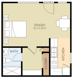 Studio - Live Oak Avenue Apartments Floor Plan at Downtown Menlo Park Leasing Center, California