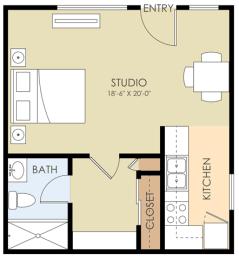 Studio Floor Plan at Downtown Menlo Park Leasing Center, Menlo Park, California