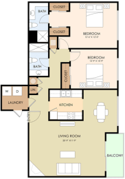 2 bedroom 2 bath Floor Plan at Downtown Menlo Park Leasing Center, Menlo Park, CA
