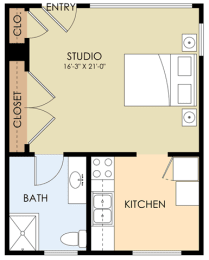 Studio - Noel Drive Floor Plan at Downtown Menlo Park Leasing Center, California