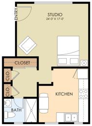 Studio - Waverley Floor Plan at Downtown Menlo Park Leasing Center, Menlo Park, 94025