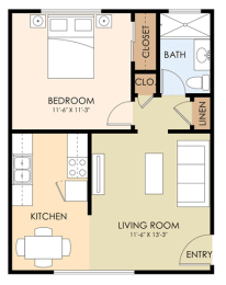 One Bedroom One Bath - 1846 California Floor Plan at Latham Square Leasing Center, Mountain View, CA