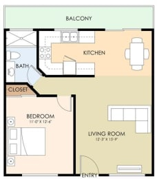 One Bedroom - 1939 Latham Floor Plan at Latham Square Leasing Center, Mountain View, California