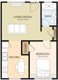 One Bedroom One Bath - 2045 Winfield Floor Plan at Latham Square Leasing Center, Mountain View, 94041