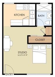 Studio - 2065 Winfield Floor Plan at Latham Square Leasing Center, California