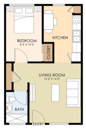 One Bedroom One Bath - 2090 Latham Floor Plan at Latham Square Leasing Center, Mountain View, California